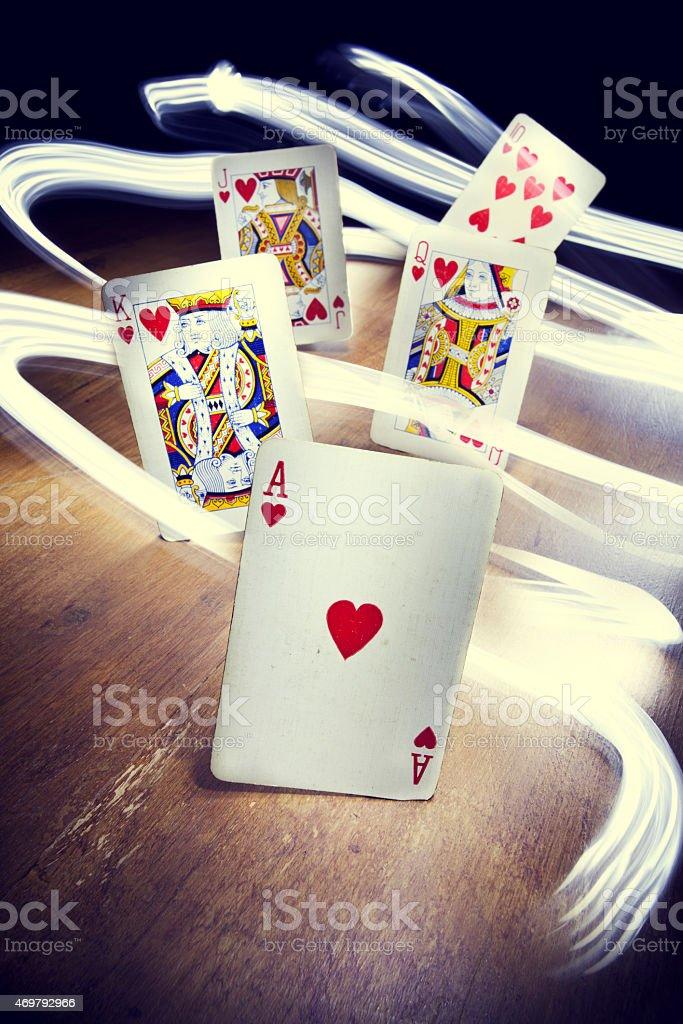 Poker Royal Flush (Hearts) stock photo