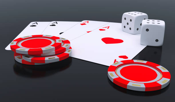 Poker-Set-Karten-Chips und Würfel nah an 3D Render-Illustration – Foto