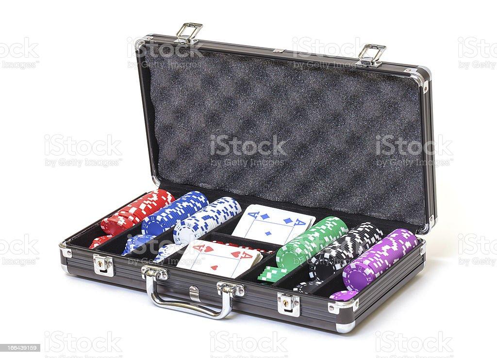 Poker Set in a Metallic Case royalty-free stock photo