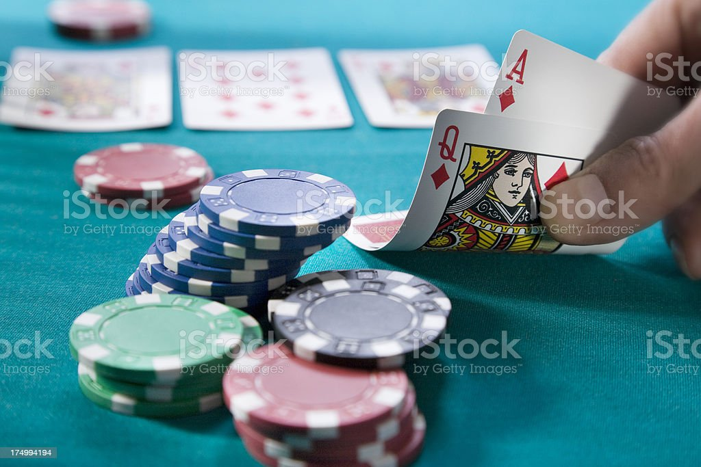 Poker texas holdem cards and gambing chips stock photo