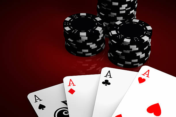 Poker winning hand over a red background. stock photo