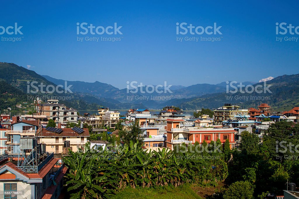Pokhara, Nepal, with the Himalayas beyond stock photo