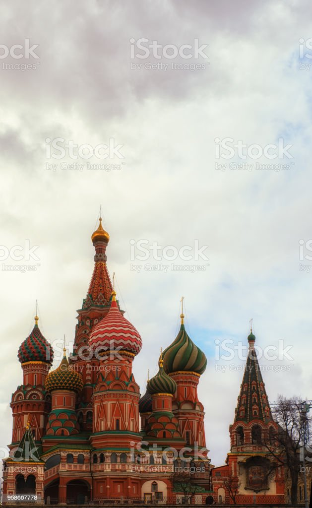 Pokrovsky Cathedral on the red square in Moscow. Domes of St. Basil's Cathedral. stock photo