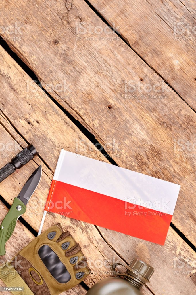 Poland army soldier attributes. stock photo