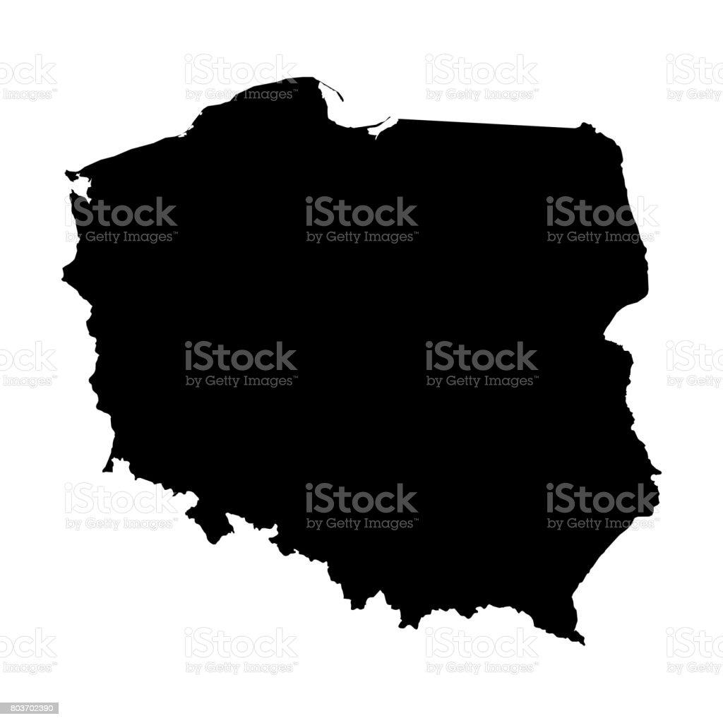Polen Karte Umriss.Polen Die Schwarze Silhouette Karte Umriss Auf Weissen 3d