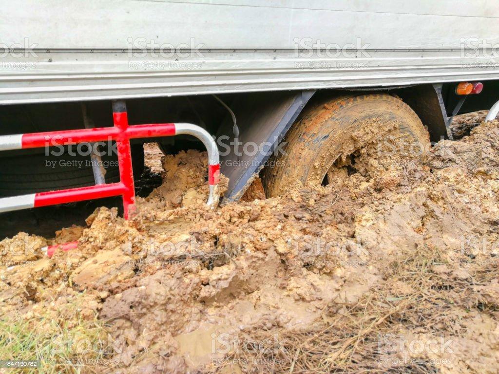 Poland, Buried, Bus, Coach, Crash stock photo