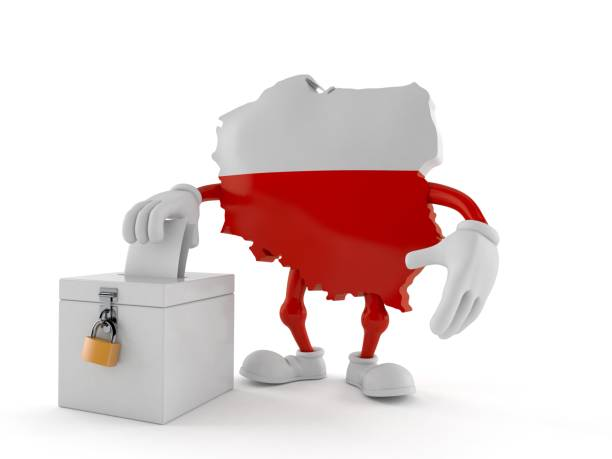 Poland character with vote ballot - foto stock