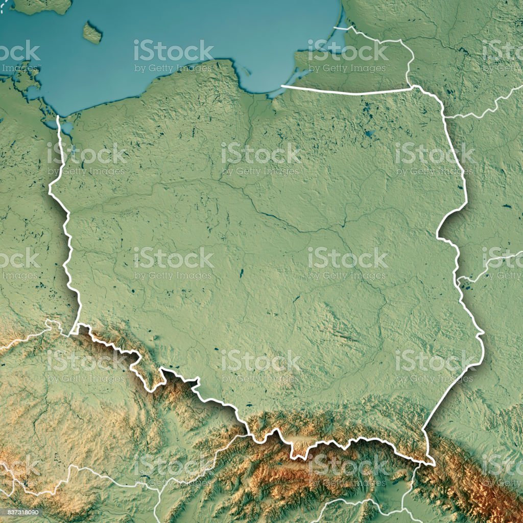 poland country 3d render topographic map border royalty free stock photo