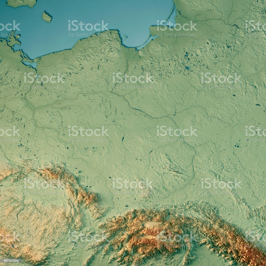 Poland Country 3D Render Topographic Map stock photo