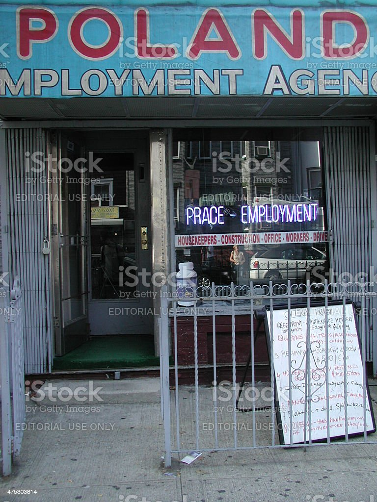 Poland Employment Agency storefront in Greenpoint Brooklyn 2003 stock photo