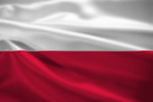 Poland flag blowing in the wind