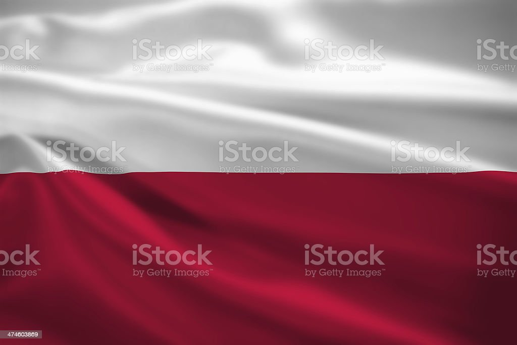 Poland flag blowing in the wind stock photo
