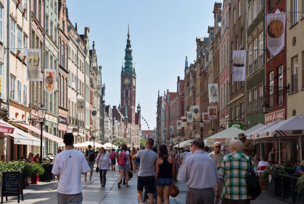 poland, gdansk. long market from the green gate - poland foto e immagini stock
