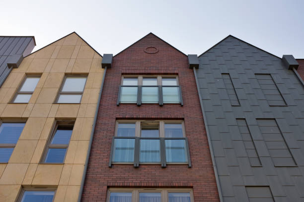 poland, gdansk. modern houses. - low angle view foto e immagini stock