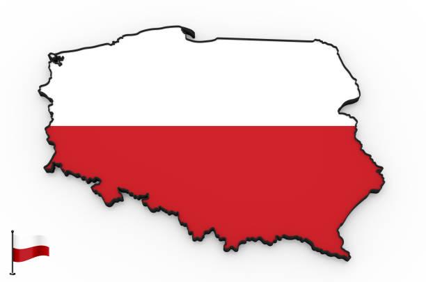 Poland high detailed 3D map stock photo