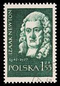 Poland Isaac Newton postage stamp
