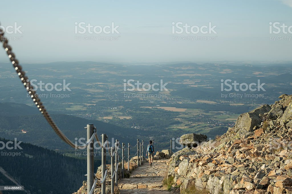 Poland, Karpacz - hiking in the mountains in summer day. stock photo