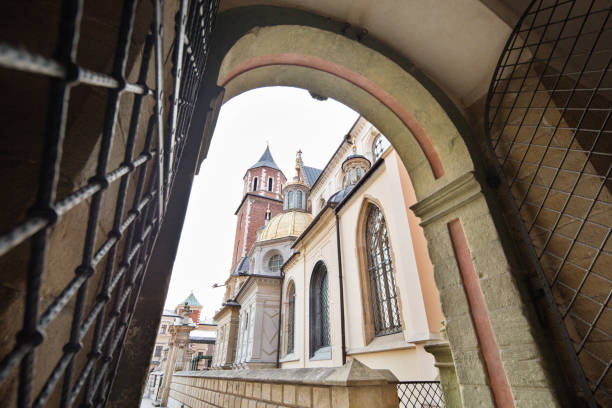 poland, krakow. wawel cathedral. - low angle view foto e immagini stock
