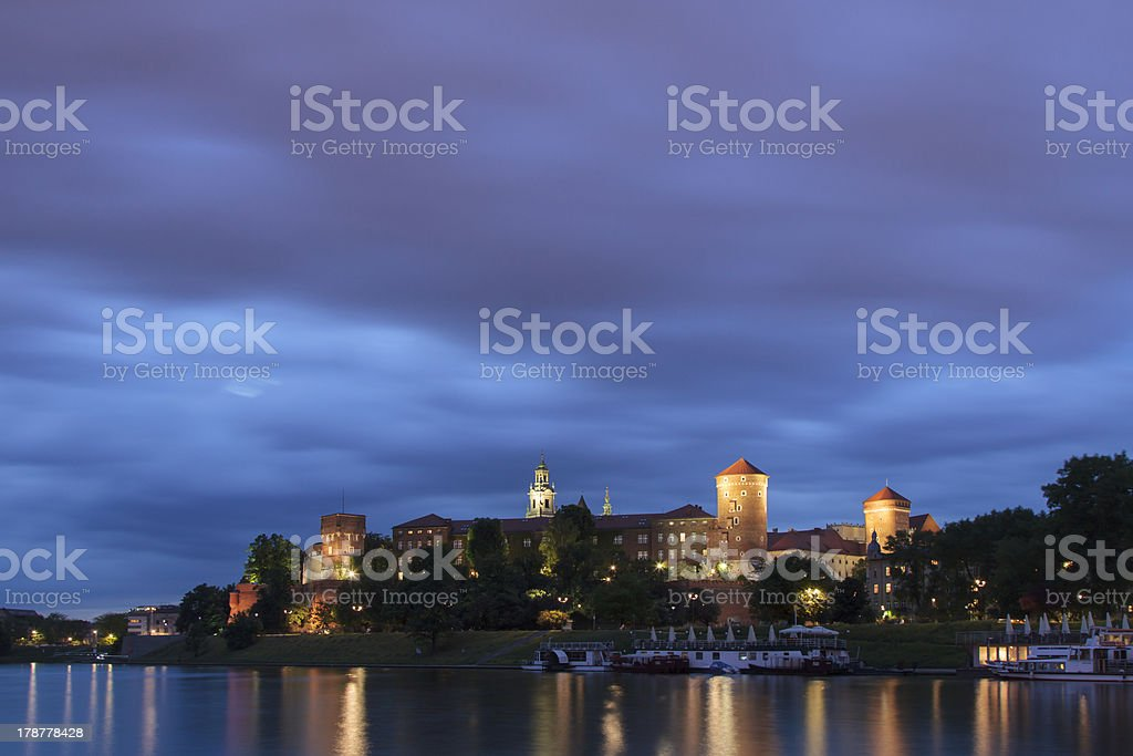 Poland, Krakow, Wawel Royal Castle Lit-up royalty-free stock photo