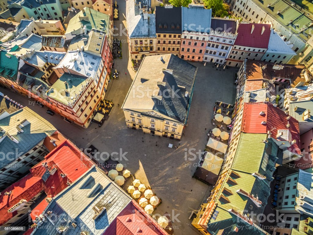 Poland - Lublin. Monuments and tourist attractions in Lublin. The old city seen from the air. stock photo