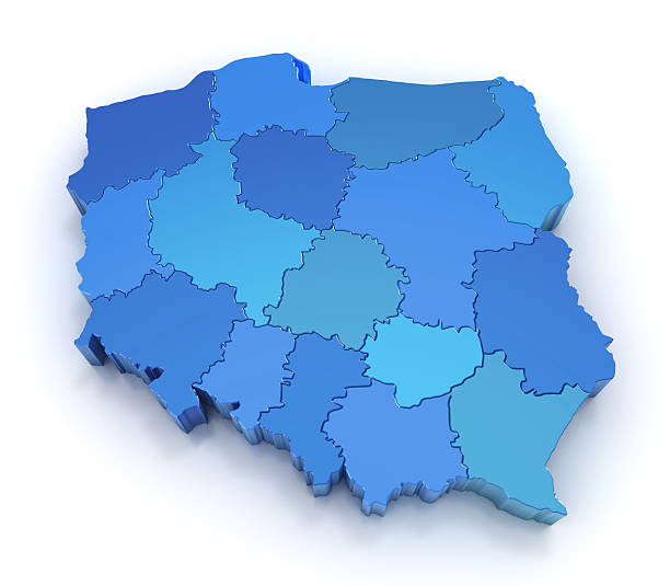 Poland map with provinces stock photo