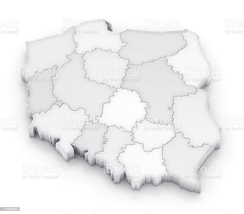 Poland map with provinces white version royalty-free stock photo