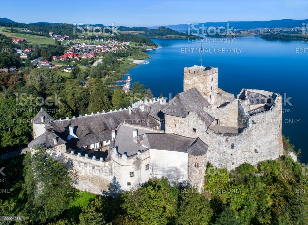 Poland. Medieval Castle in Niedzica. Aerial view stock photo