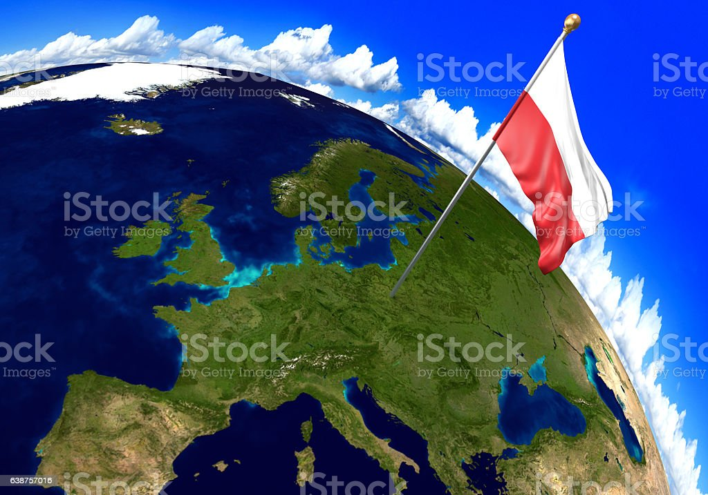 Poland National Flag Marking The Country Location On World ...