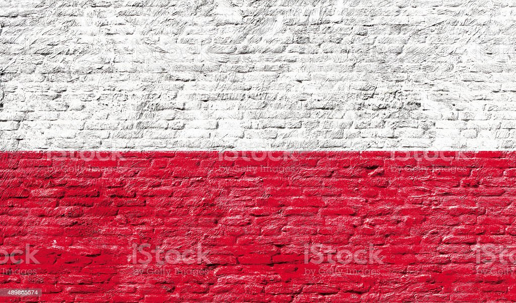 Poland - National flag on Brick wall stock photo