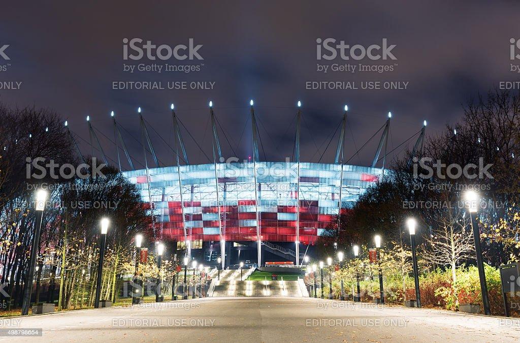 Poland - National Stadium in Warsaw at night stock photo