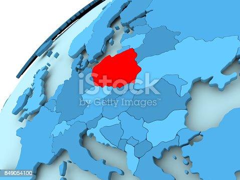 istock Poland on blue globe 849054100