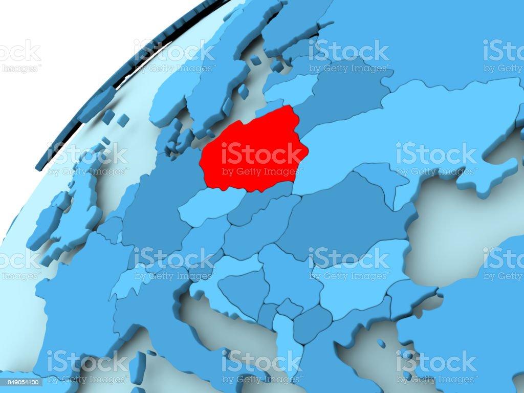 Polen auf blauer Globus – Foto