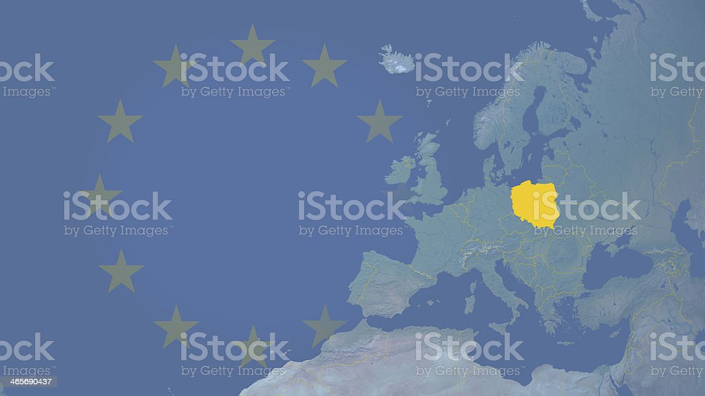 Poland part of  European union since 2004 16:9 with borders royalty-free stock photo