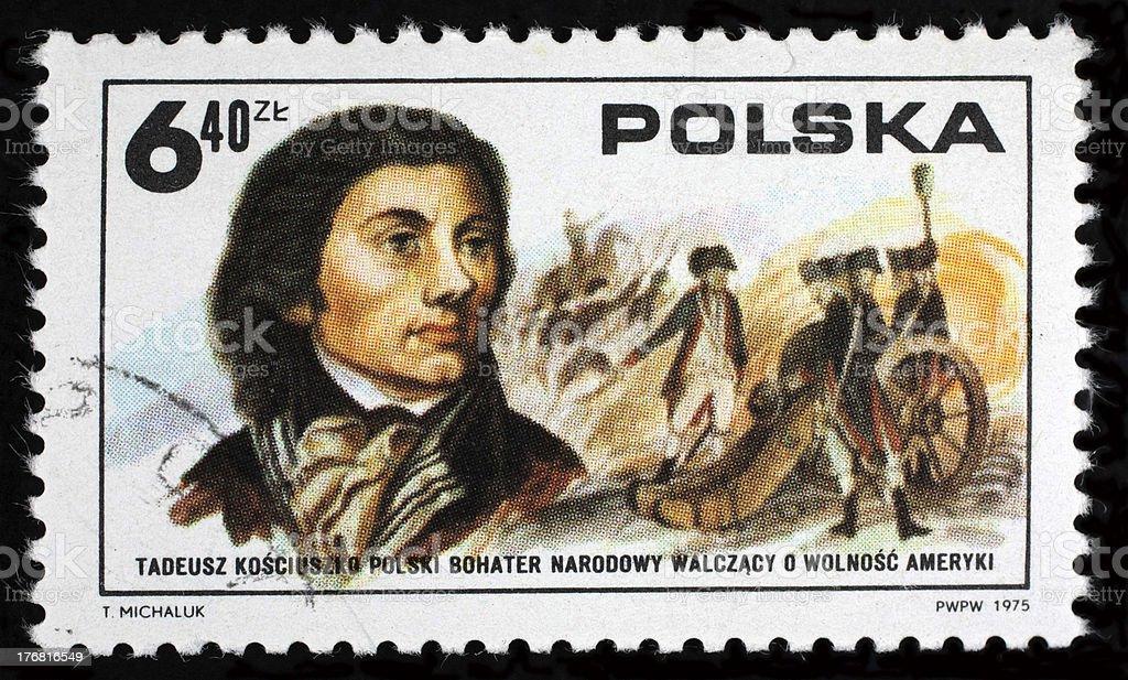 poland postage stamp stock photo
