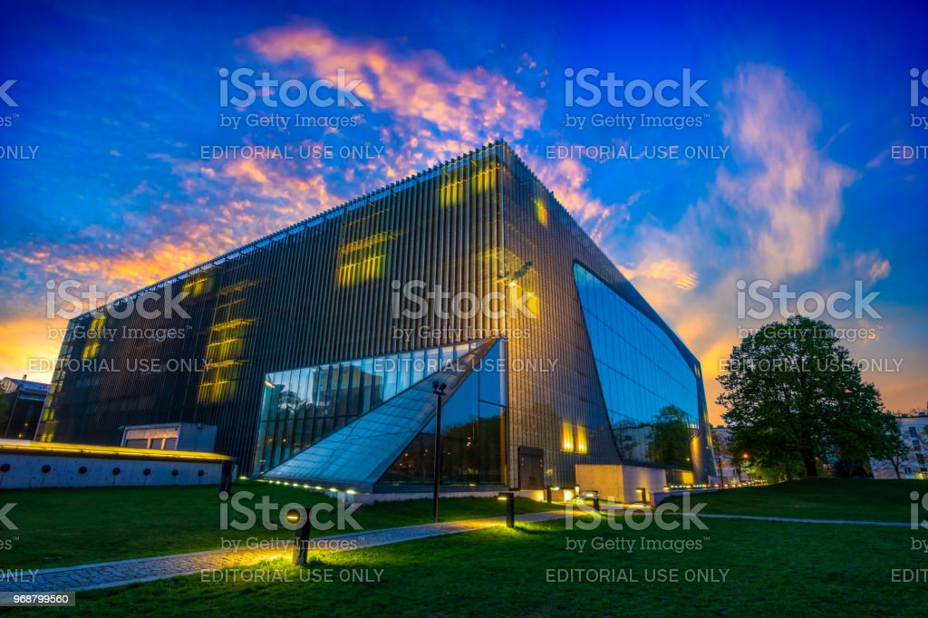 Poland, Warsaw-April 2018: Museum of Polish Jews in Polin, illumination included stock photo
