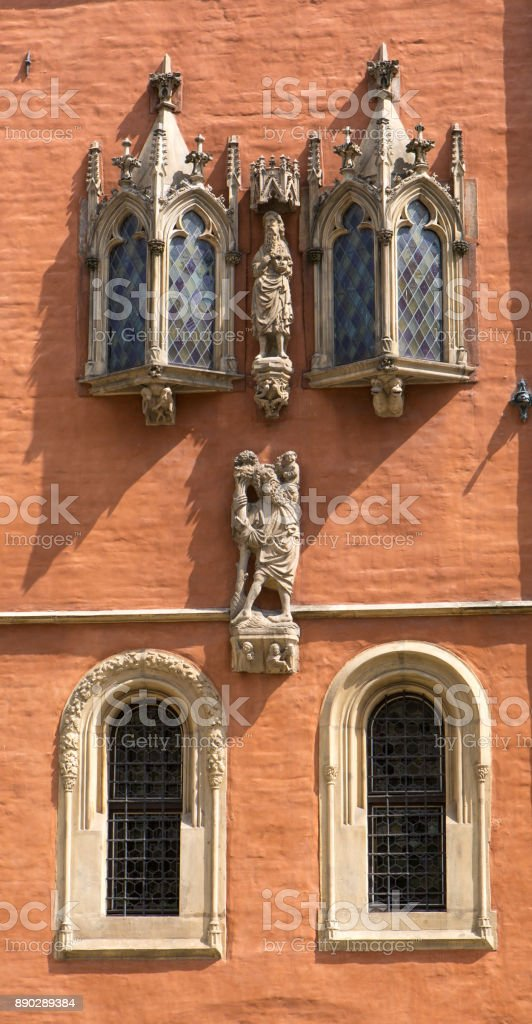 Poland. Wroclaw. Town hall. Bay window, red wall. stock photo