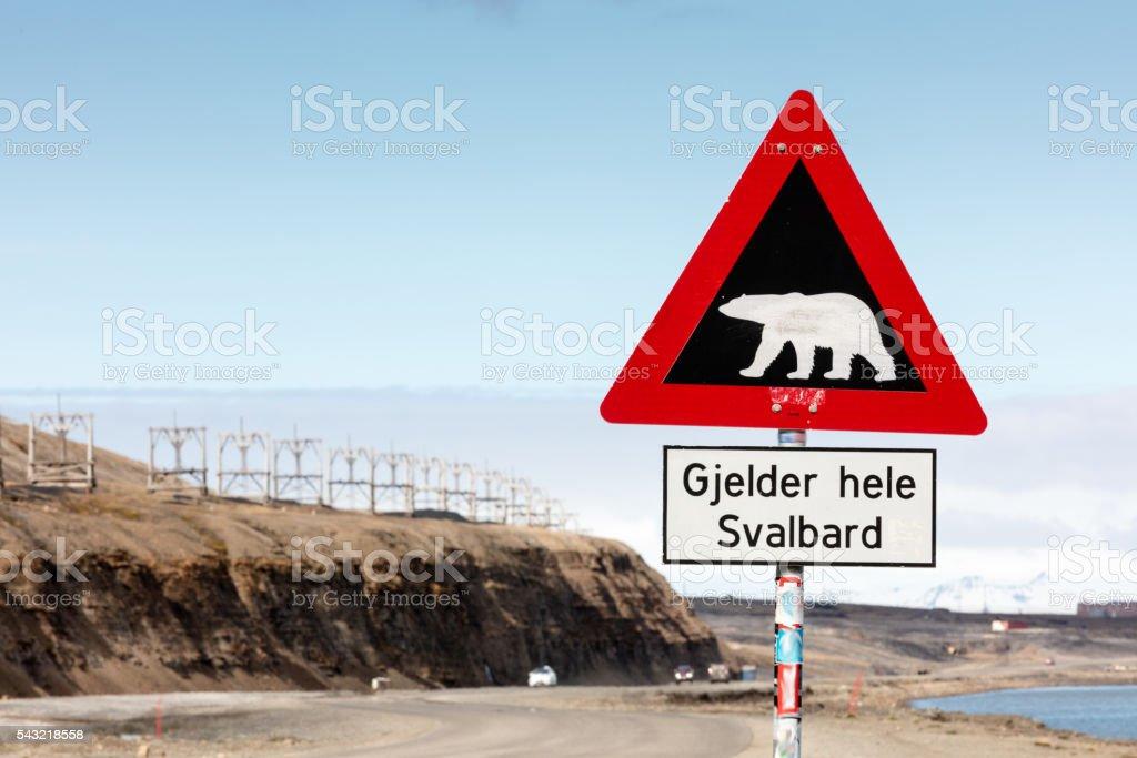 Polar Bear Caution Sign, Outskirts of Longyearbyen, Spitsbergen, Norway stock photo