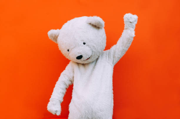Polar bear character with a message for humanity, about global warming and pollution problems on our planet Polar bear character with a message for humanity, about global warming and pollution problems on our planet mascot stock pictures, royalty-free photos & images
