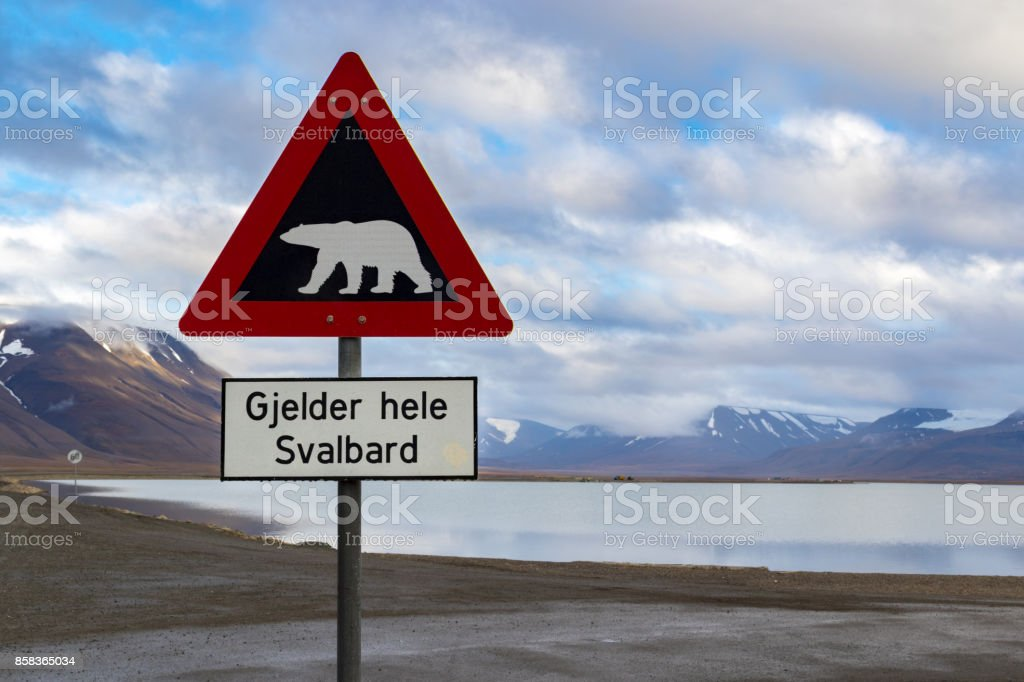 Polar bear warning sign in Svalbard stock photo