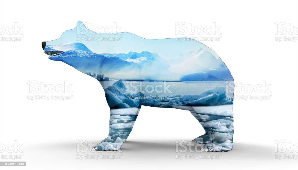 Polar bear with Ice mountain Concept Art stock photo