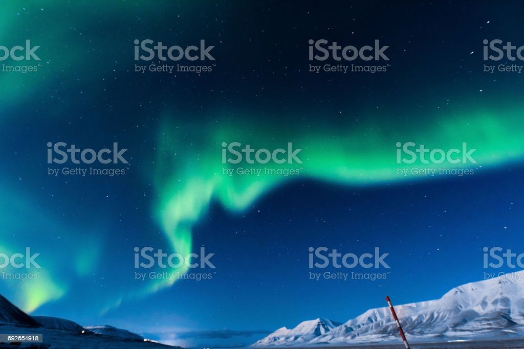 Polar Northern Lights In The Mountains Of Svalbard Longyearbyen Spitsbergen Norway Wallpaper Stock Photo Download Image Now Istock