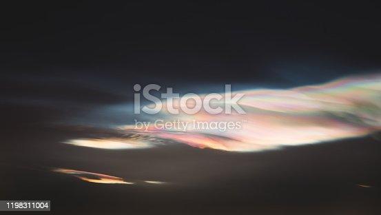 istock Polar stratospheric cloud above Oslo, Norway. Tight shot of polar stratospheric cloud. 1198311004