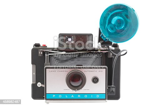 Cantley, Canada - February 23, 2012: On this picture you can see a vintage Polaroid 210 Automatic Land Camera with flash on a white background. This camera was manufactured from 1967 to 1969 by the Polaroid Corporation of Cambridge, Massachusetts, USA.