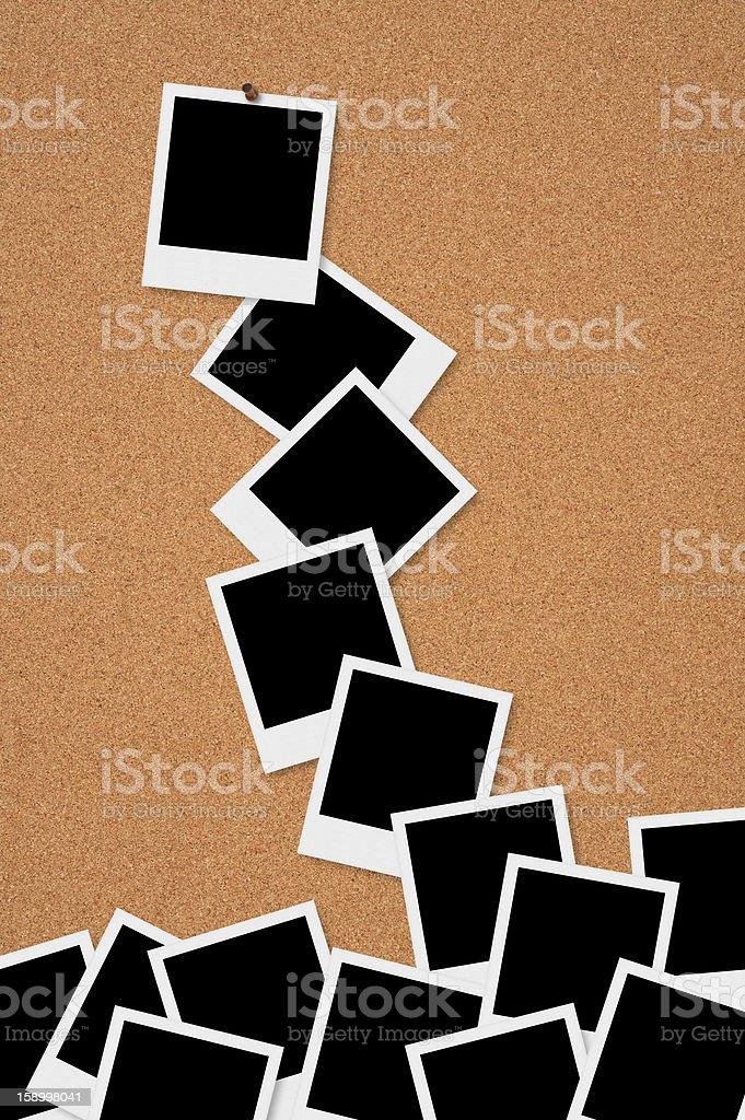 Polaroid Frames on Bulletin Board royalty-free stock photo