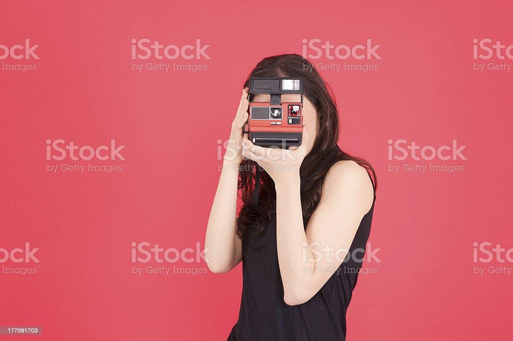 polaroid photographer stock photo