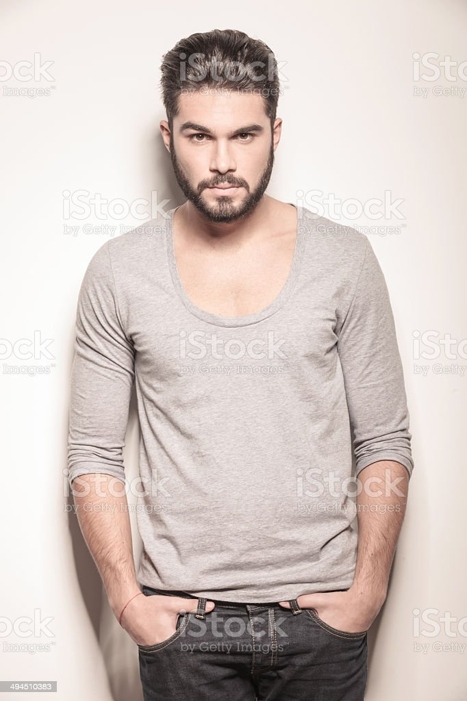 polaroid pose of a sexy young man with beard royalty-free stock photo