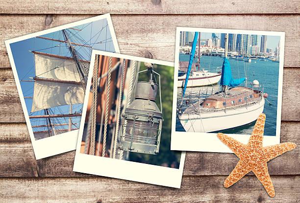 polaroids with nautical pictures stock photo