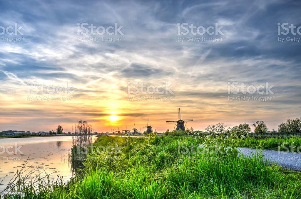 Polder landscape at Kinderdijk stock photo
