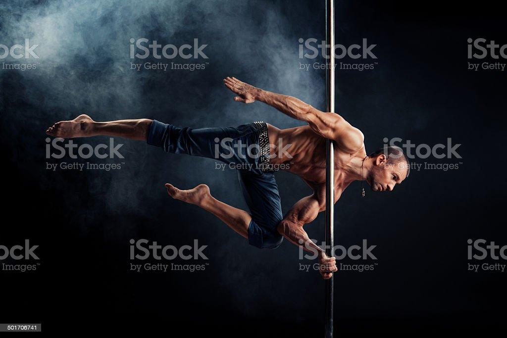 Pole Dance Male stock photo