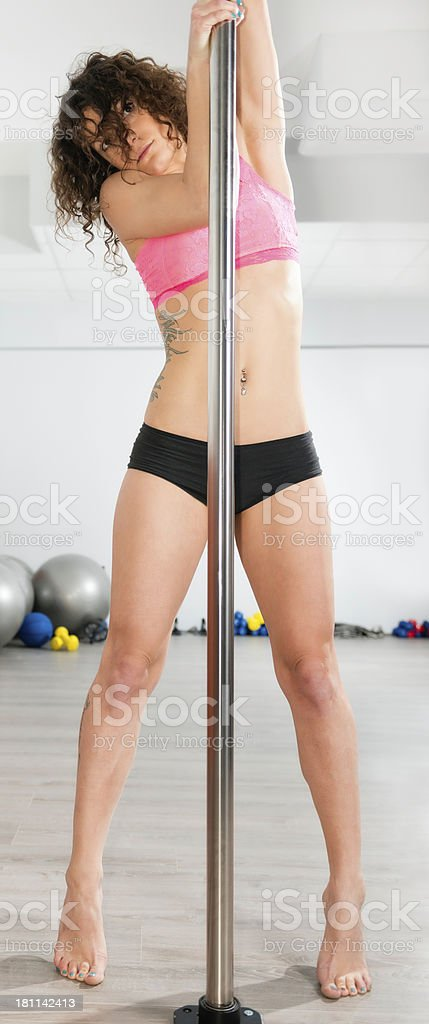 Pole fitness girl stock photo